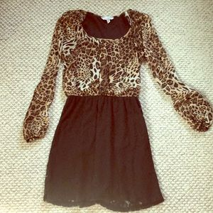 Sheer leopard and lace dress